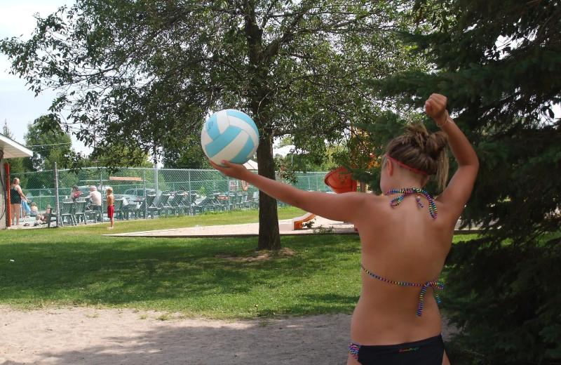 Volleyball court at Golden Beach Resort.