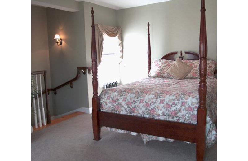 Two floor townhouse suite bedroom at Essex Street Inn Newburyport.