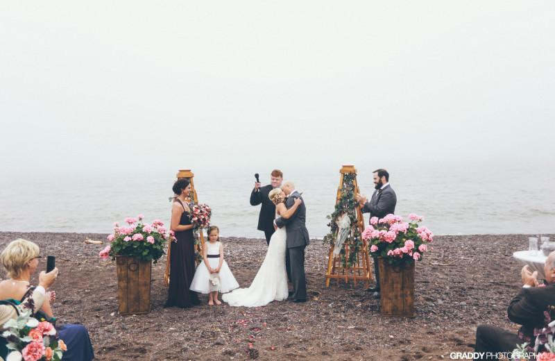 Beach wedding at Superior Shores Resort.