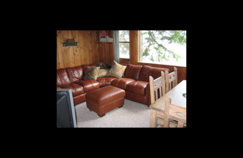 Cabin living room at Sandy Lakeshores on LCO.