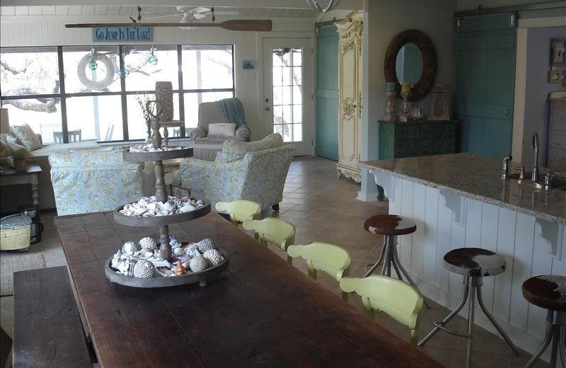 Dining room at Turtle Rock Cottage on Lake LBJ.