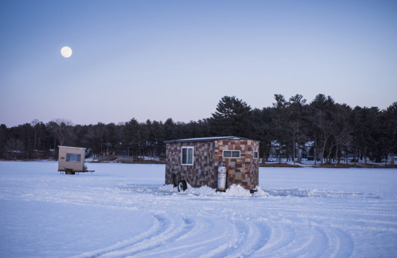 Ice fishing at Baker's Sunset Bay Resort.