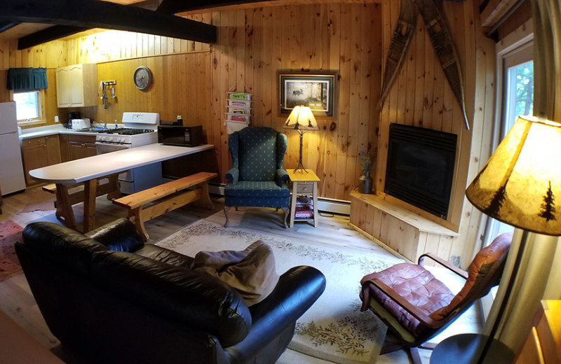 Cottage living room at Nor'Wester Lodge