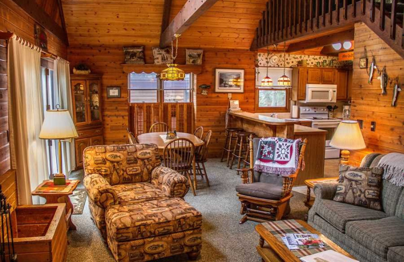 Cabin living room at Boyd Lodge.