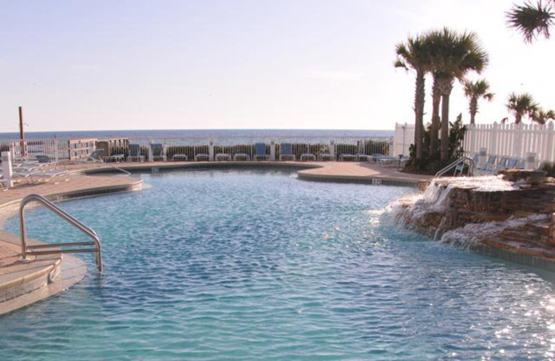 Outdoor pool at Majestic Beach Resort.