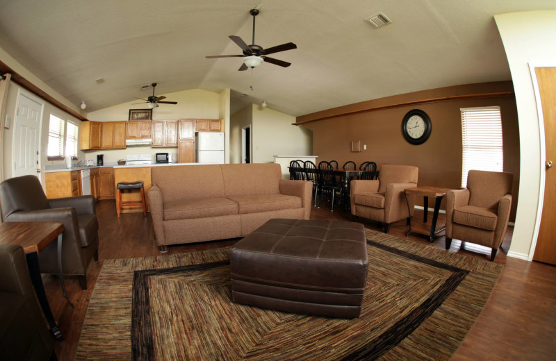 Cottage living room at Hill Country RV Resort & Cottage Rentals.