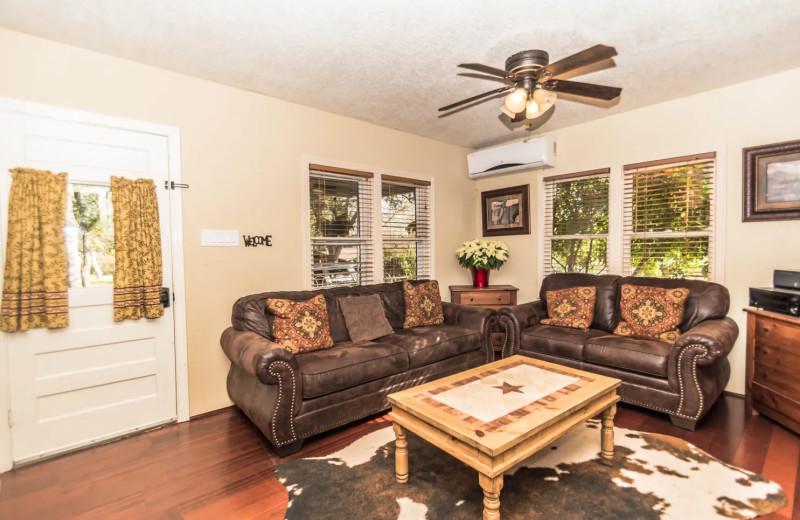Rental living room at Geronimo Creek Retreat.