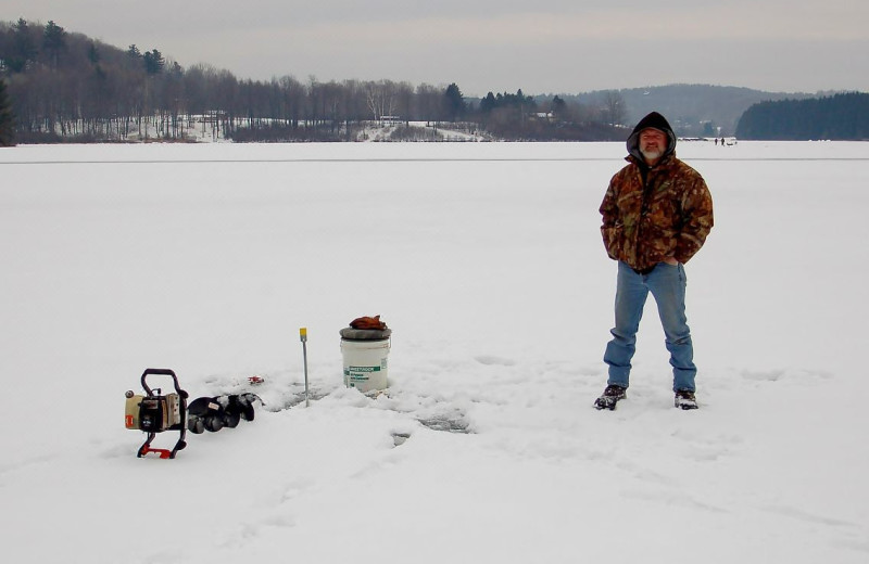 Ice fishing near Penn Wells Hotel & Lodge.