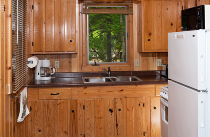 Cabin kitchen at Two Inlets Resort.