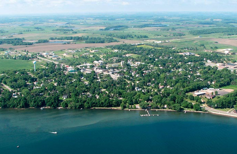 Aerial view of Battle Lake Motel.