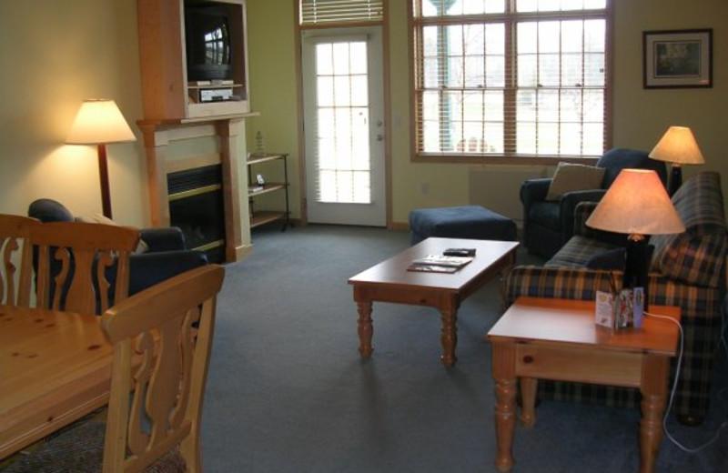 Living room area at Birchwood Lodge.