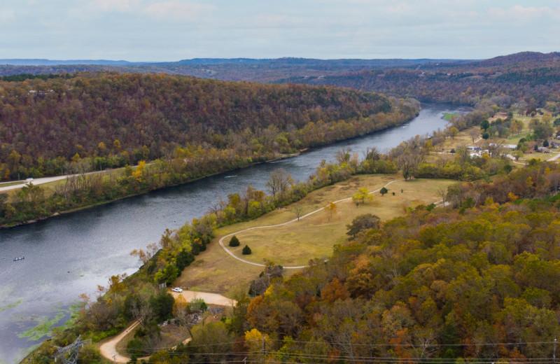 Aerial view of river at Copper John's Resort.