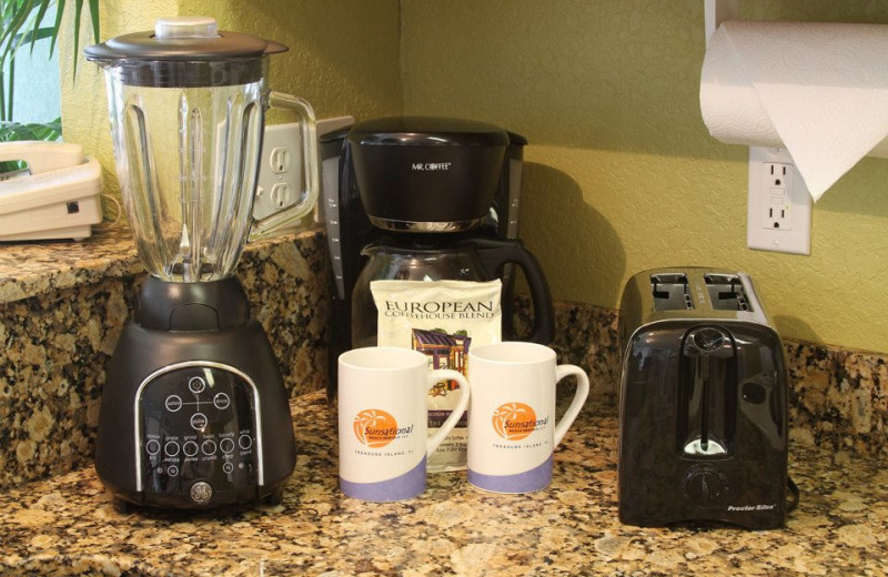 Kitchen blender, coffee maker, and toaster at Sunsational Beach Rentals. LLC.