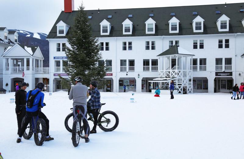 Fat biking at Waterville Valley Resort Association.
