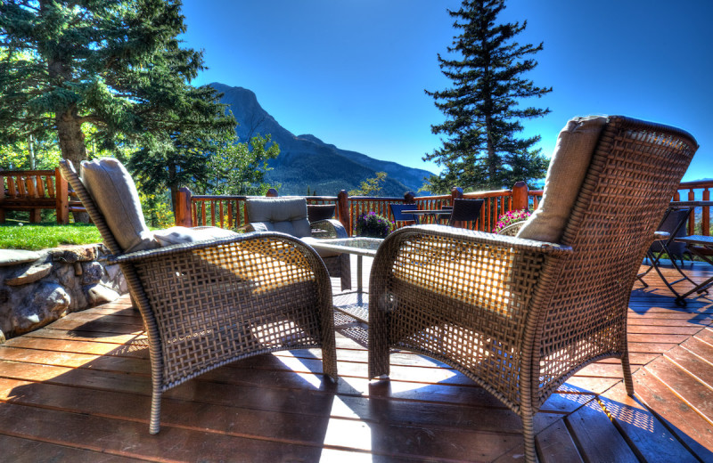 Patio at Overlander Mountain Lodge.