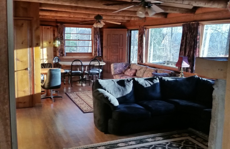 Rental living room at Dale Hollow Cabins.