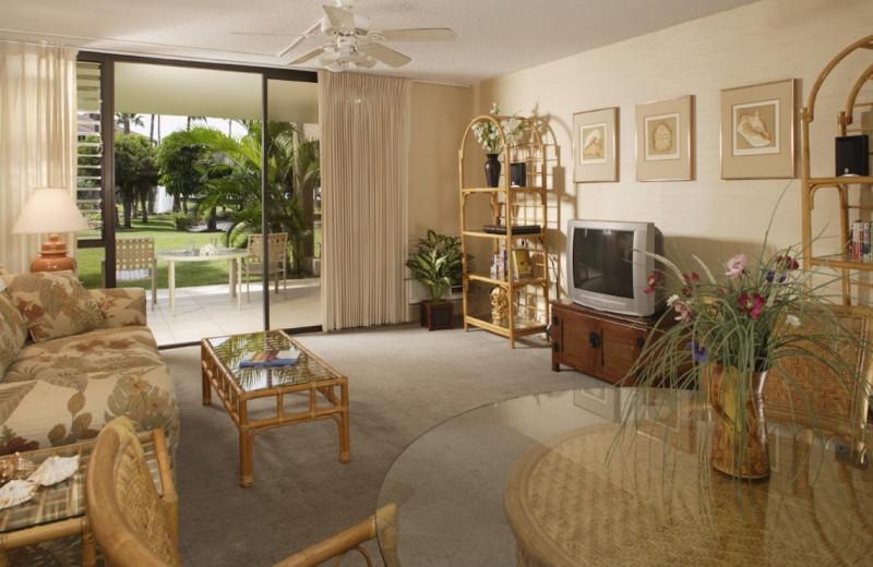 Vacation rental living room at Kamaole Sands.