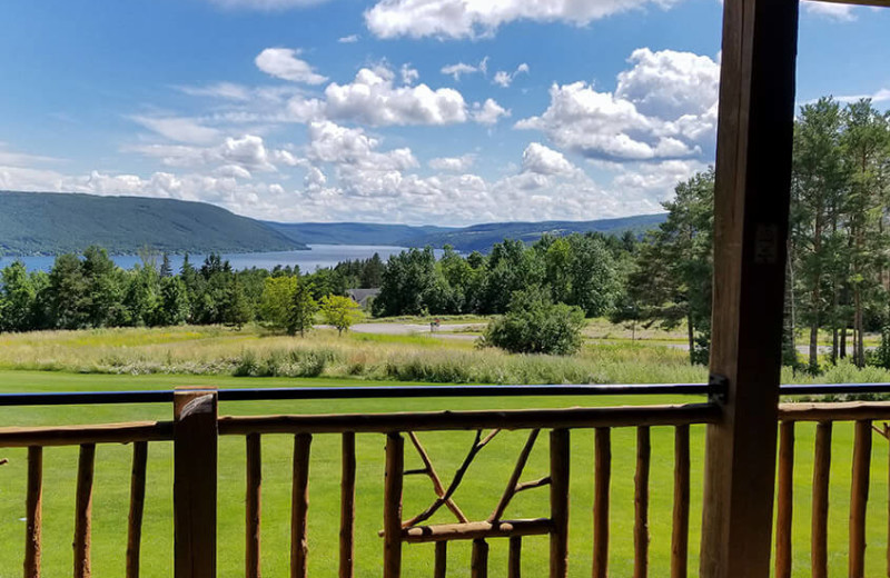 Balcony view at Bristol Harbour Resort on Canandaigua Lake.