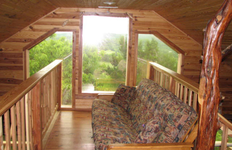 Cabin loft view at Can-U-Canoe Riverview Cabins.