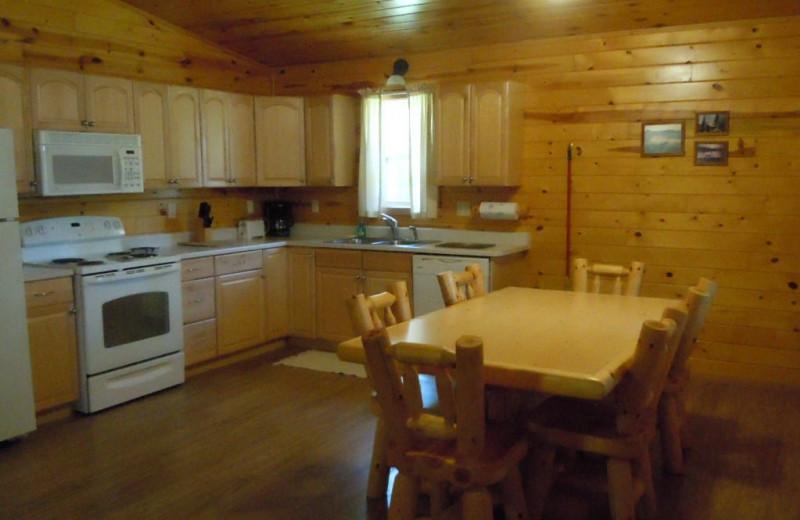 Cabin kitchen at Lakewood Lodge.