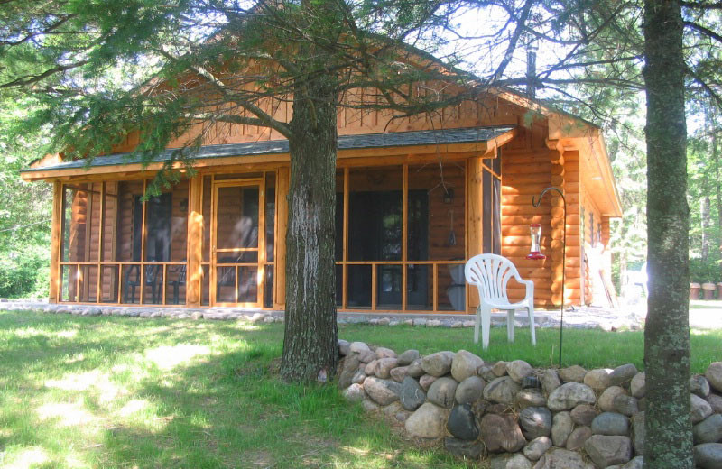 Cabin exterior at Loon Point Resort.