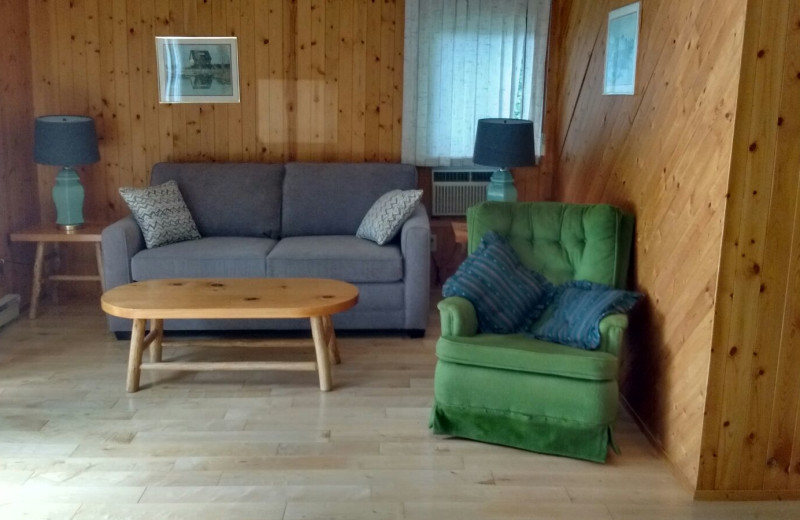 Cabin living room at Evergreen Resort.