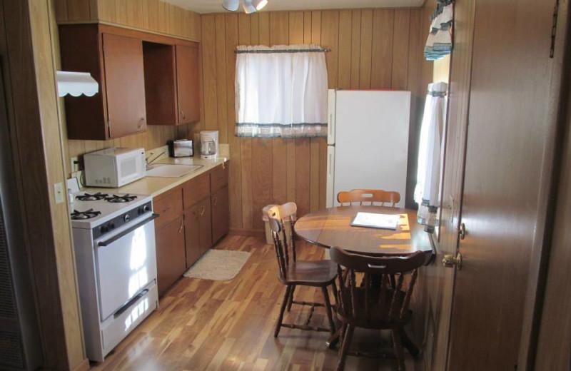 Cabin kitchen at Lazy Oaks Resort.