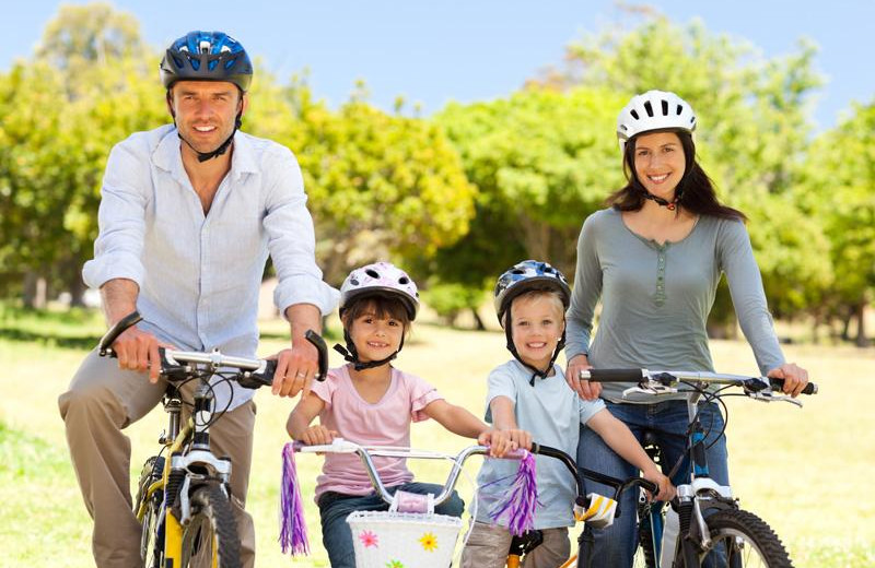 Family biking at @ Michigan Inn and Lodge.