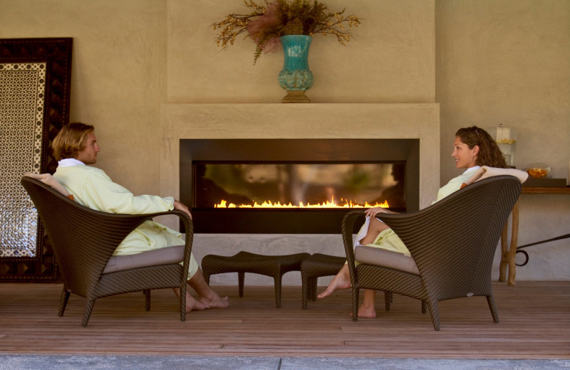 Relaxing by the fire at Indian Springs Resort & Spa.