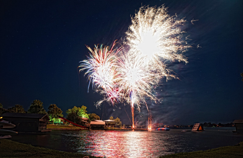 Fireworks at Camp Champions on Lake LBJ.
