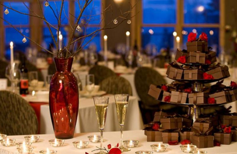 Wedding setup at Bluefin Bay on Lake Superior.
