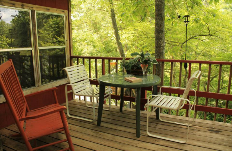 Cabin deck at Mountain Rest Cabins and Campground.