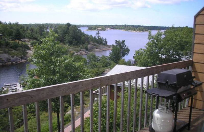 Cabin balcony at Pleasant Cove Resort.