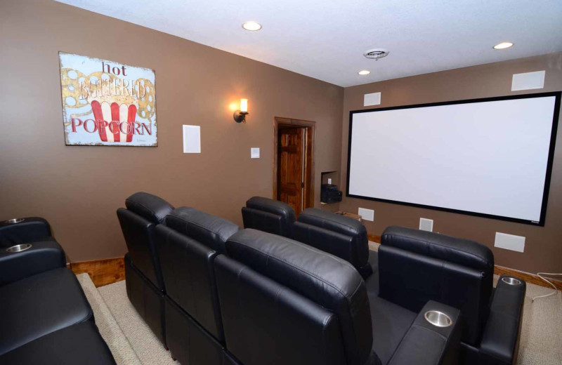 Rental theater at Railey Mountain Lake Vacations.