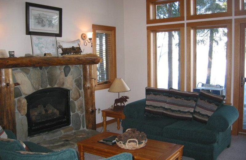 Cabin living room at Timberline Meadows Lodges.