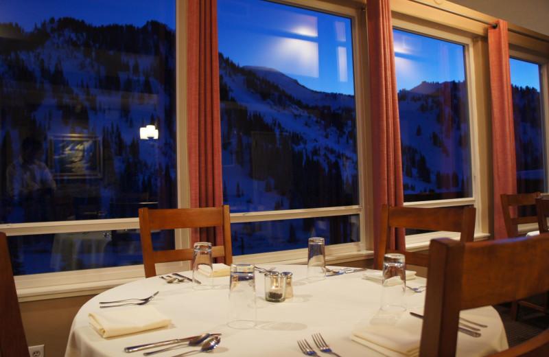 Dining at Snowpine Lodge.