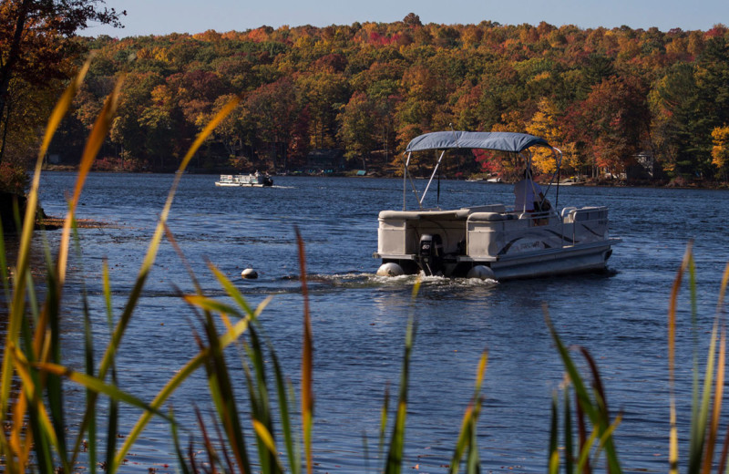 Fall pontoon at Woodloch Resort.