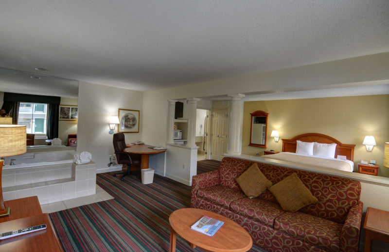 Guest room at Quality Inn and Suites Biltmore East.