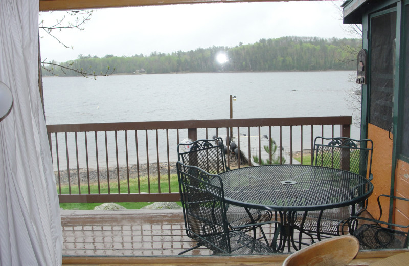 Cottage deck view at Pine Point Lodge.