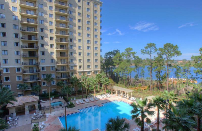View of pool and lake at Lake Eve Resort.