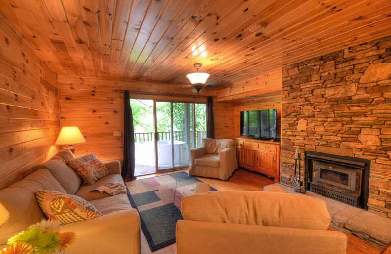 Cabin living room at Nantahala Village.