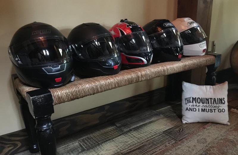 Helmets at Timber Frame Rentals.