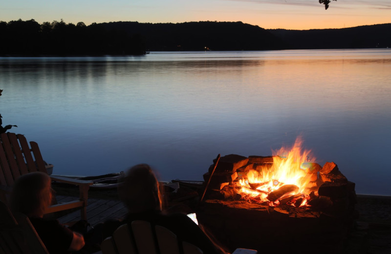 Lake bonfire at Sir Sam's Inn & Spa.