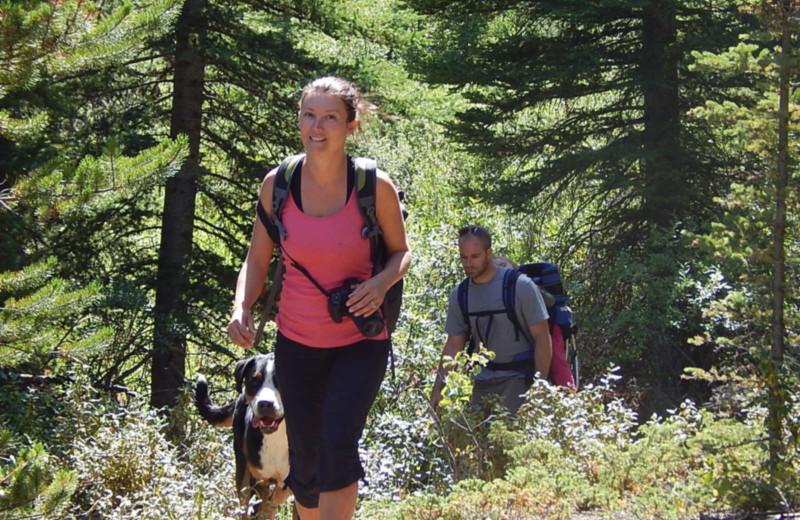Hiking at Chaunigan Lake Lodge.