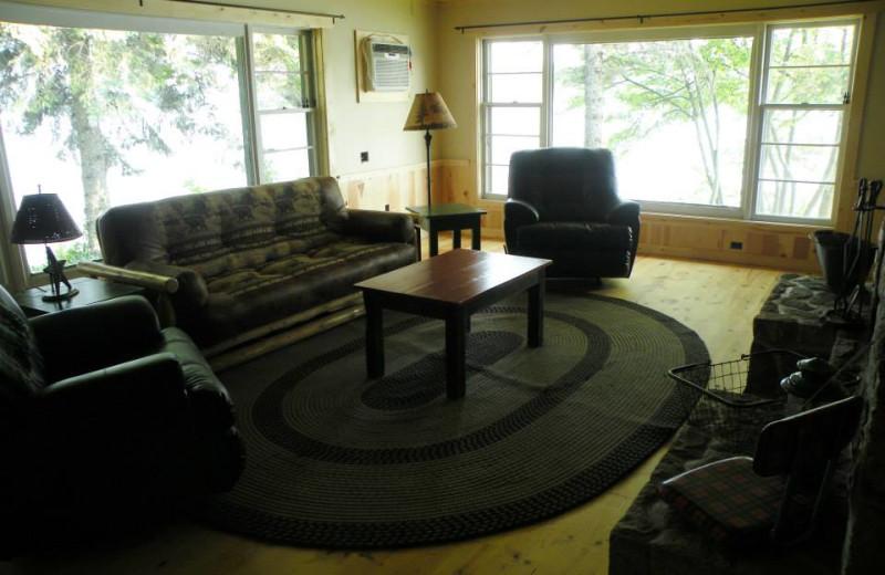 Cabin living room at Sams Island Cabin.