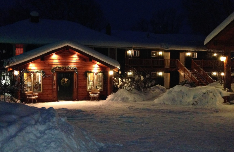 Winter at the entrance of the Front Desk at Heather Lodge.