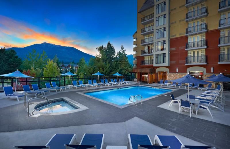 Outdoor pool at Hilton Whistler Resort.