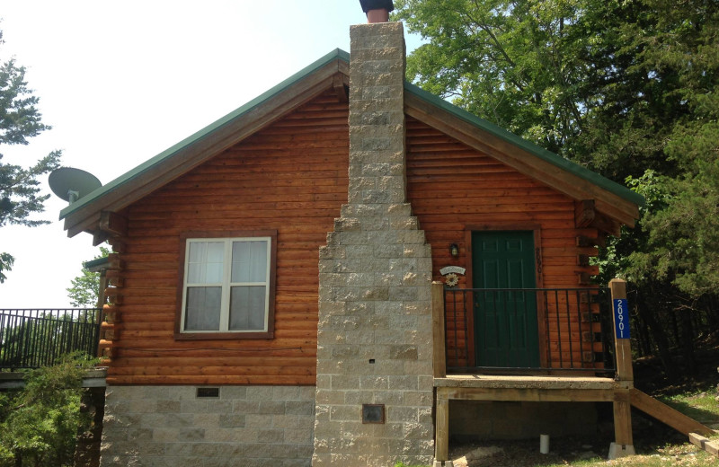 Cabin exterior at Whispering Hills Cabins.