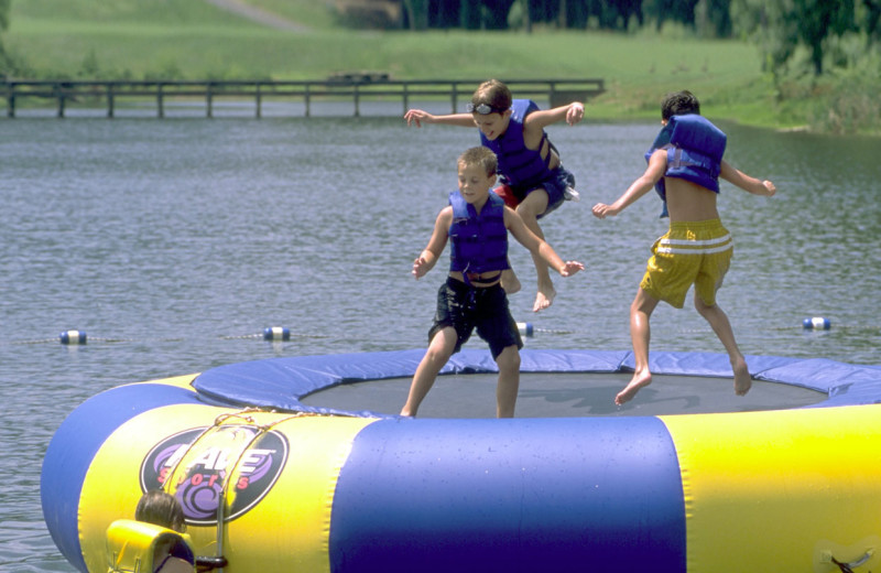 Water trampoline at Wintergreen Resort.