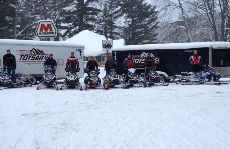 Snowmobiling group at Lac La Belle Lodge.